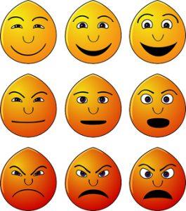 Emoticons van vrolijk naar prikkelbaar